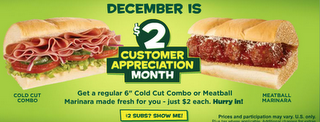 Subway Offering $2 Subs In December image subway offering 2 subs in december