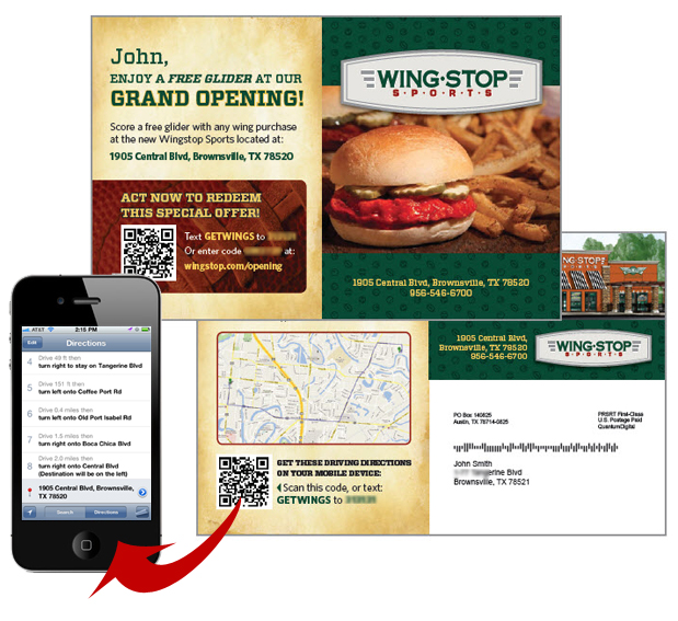 Postcard that allows customers to scan a qr code or text a phrase to a shortcode to get door-to-door driving directions on their mobile device. Wing Stop card produced by QuantumDigital, Inc.