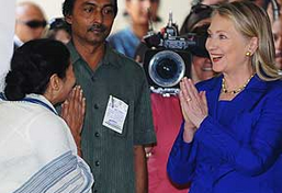 How Did Hillary Clinton's Diplomacy Tour Turn in to an Indian Holiday, Winning Hearts? image Hillary Mamta2