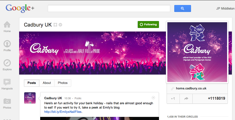 Google+ Cadbury's Business Page