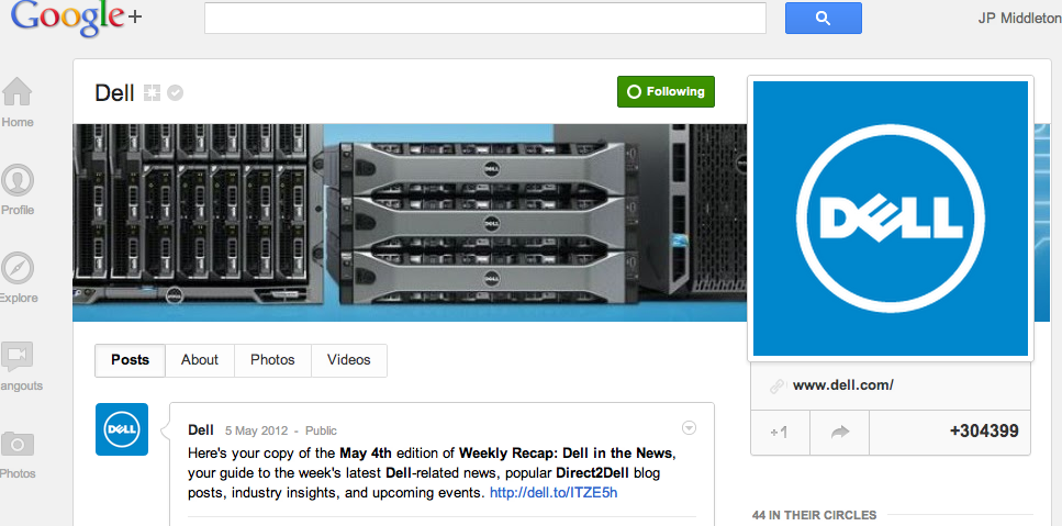 Dell Google+ Business Page