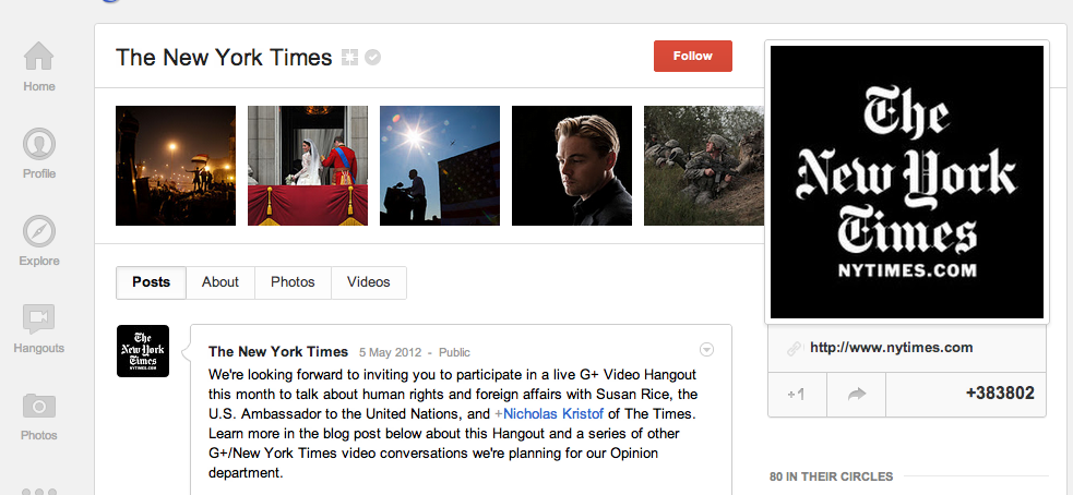 Ny Times Google+ Business Page