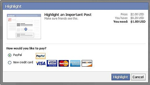 Facebook To Consider Charging Users To Highlight A Post image facebookhighlight2