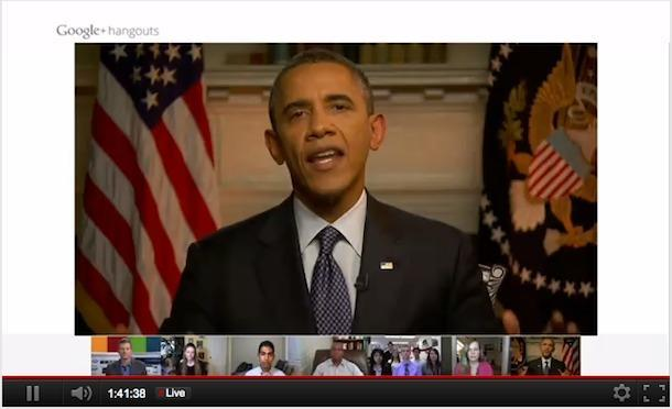 5 Ways for Businesses to Use Live Broadcasting from Google image obamahangout1