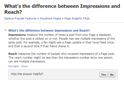 6 Brand New Facebook Page Changes You May Have Missed image whats the difference between impressions and reach facebook help center 161207
