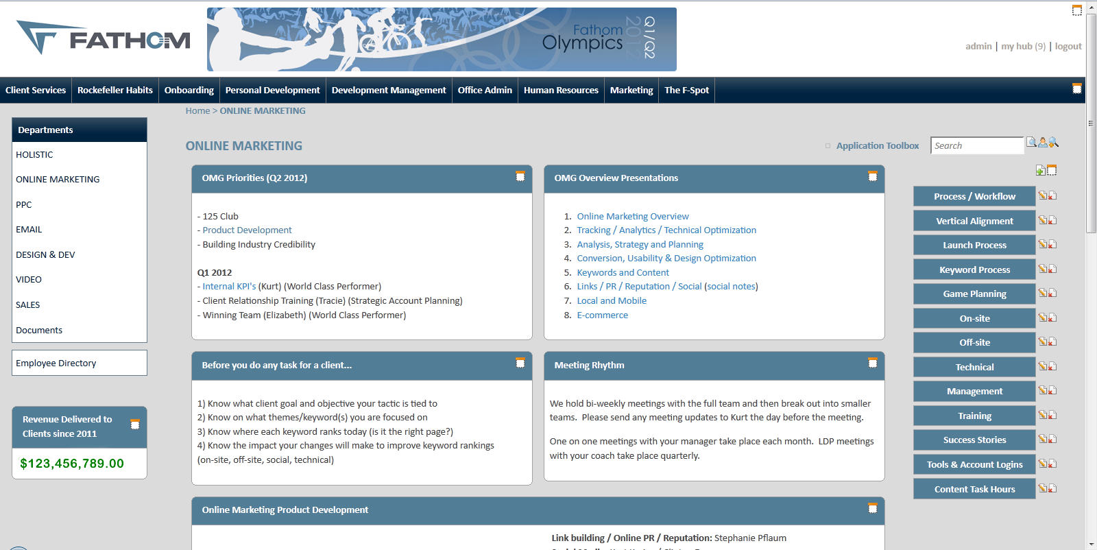 Fathom s sleek intranet design makes finding information easy for Intranet portal design templates
