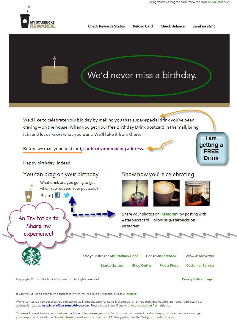 starbucks integrated marketing case study effective starbucks starbucks birthday email