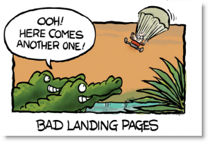 Landing Page Optimization 101   5 Quick Tips for Smarter LP Design image landing page cartoon 300x206