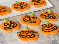 Jack O Lantern Cookies For Halloween Trick Or Treat image Jack O Lantern Halloween Cookies Recipe Photo