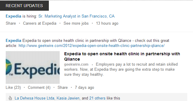 LinkedIn's Recent Makeover Further Enhances Use for Businesses image Expedia linkedin2