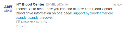 Start Spreading the News About NYC's Success in Using Social Media for Emergency Management image blood drive