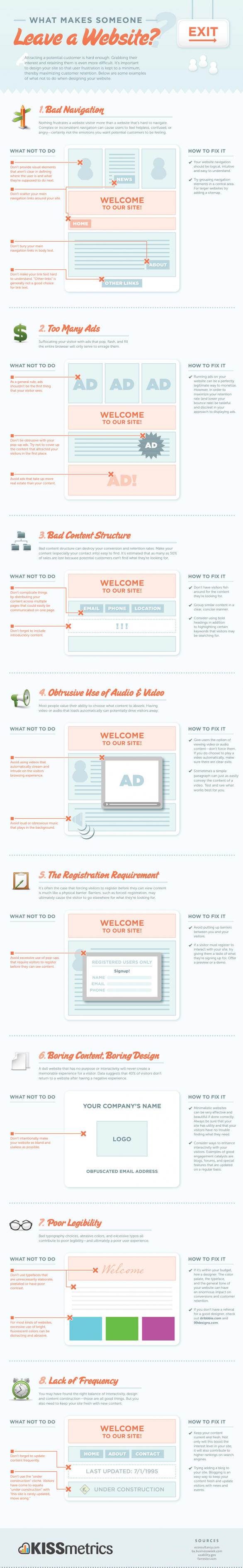 8 Website Design No Nos! [Infographic] image Leave a website infographic1