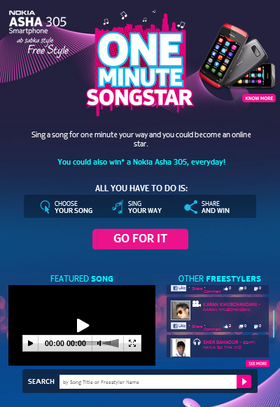 39 Best Indian Facebook Campaigns Of 2012 image Nokia one minute superstar