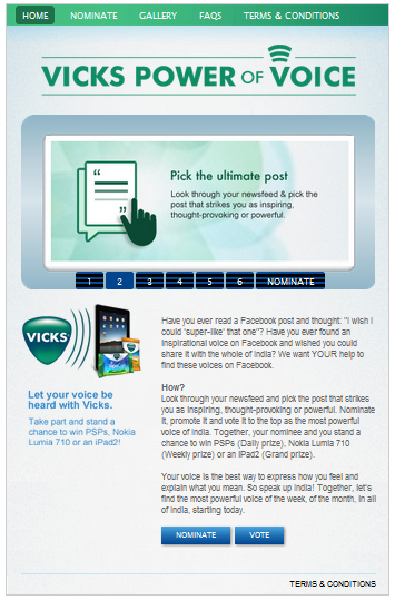 39 Best Indian Facebook Campaigns Of 2012 image Vicks Power of voice