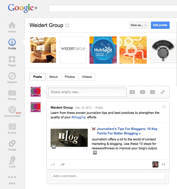 4 Reasons Your Social Media Marketing Should Include Google+ in 2013 image WeidertGoogle