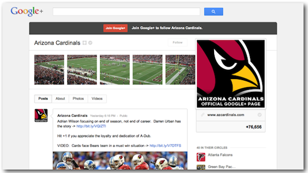 How NFL Teams Are Leveraging Content Marketing Tactics image arizona cardinals google plus profile
