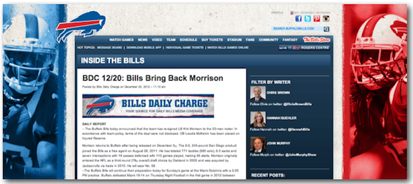 How NFL Teams Are Leveraging Content Marketing Tactics image buffalo bills blog