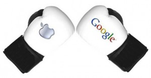 Google Taking Jabs at Apple and the Patent War image google vs apple 300x156