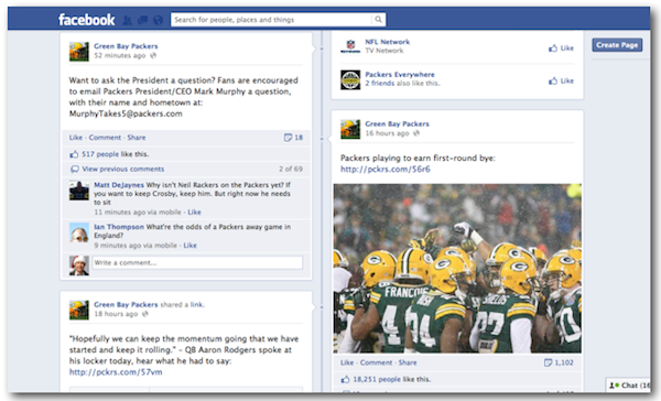How NFL Teams Are Leveraging Content Marketing Tactics image green bay packers facebook page