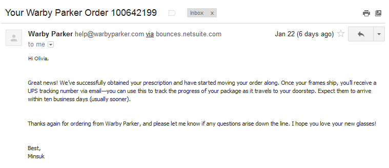 Two IRL Examples of Pleasantly Personalized Brand Interactions image Warby Parker Email13
