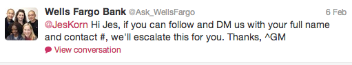 Why Social Media Care Is The New Customer Service image WellsFargoTweet