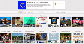 How I Used Pinterest to Create Our School's Virtual, Viral Viewbook image canterbury school florida pinterest page