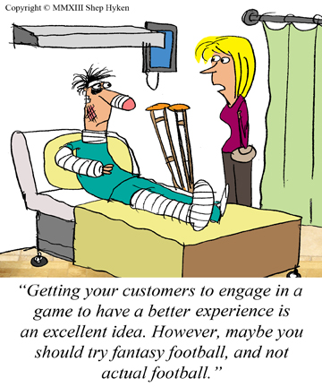 Using Games to Create a Better Customer Experience image fantasy football hospital cartoon