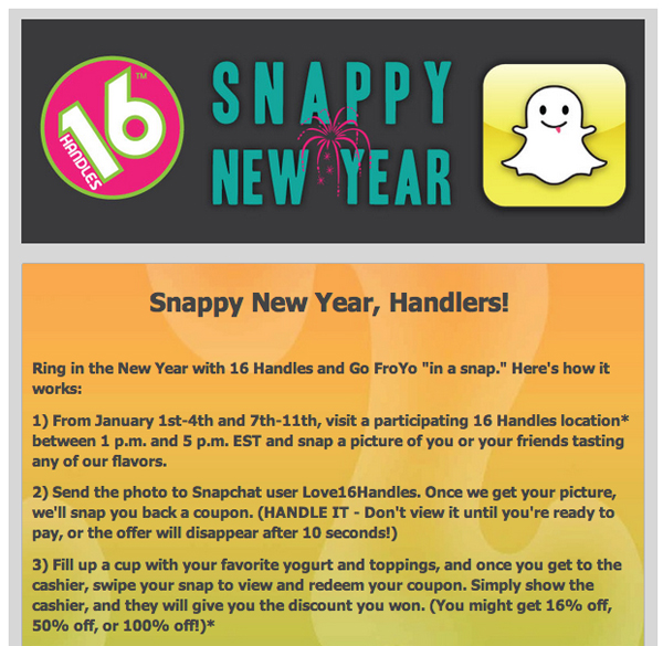 The Best Branded Content of the Week: January 5, 2013 image snapchat 16 handles