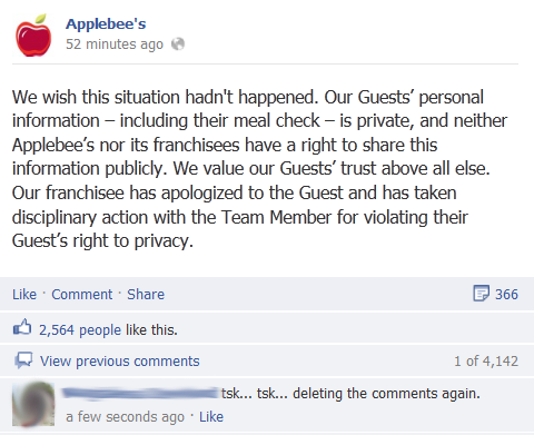 Applebees Taking Heat on Social Media for Firing Waitress image Applebees message9