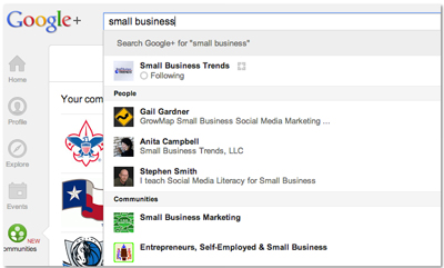 Social Media for Business in 2013: Google+ Communities image Google Communities Small Business1