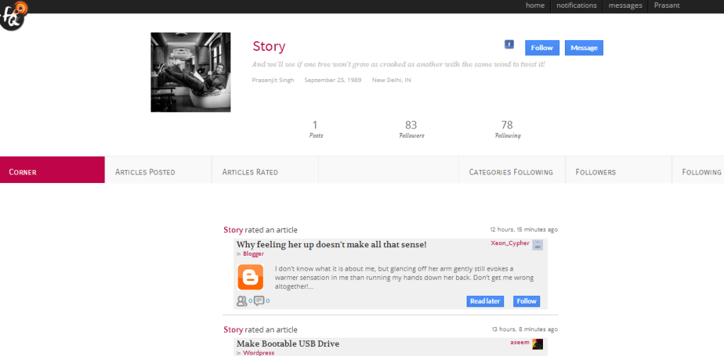FirstQuarto – A Social Network For Bloggers image firstquarto prasenjit singh 1024x504