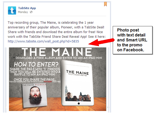 How to Post for Maximum Engagement to your Facebook News Feed image tabsite post image with text smart url