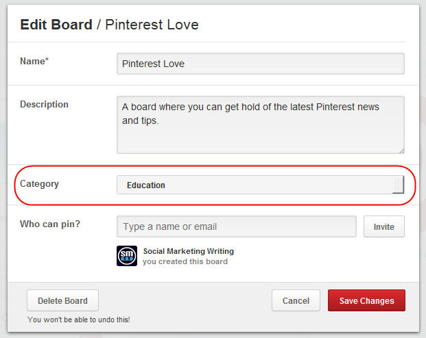 Add Board Categories to Your Boards