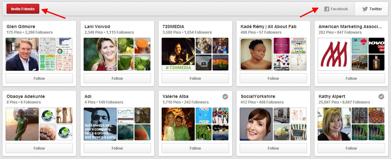 Begin Following People on Pinterest