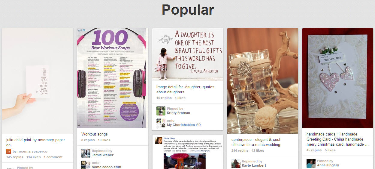 Pinterest Popular Section