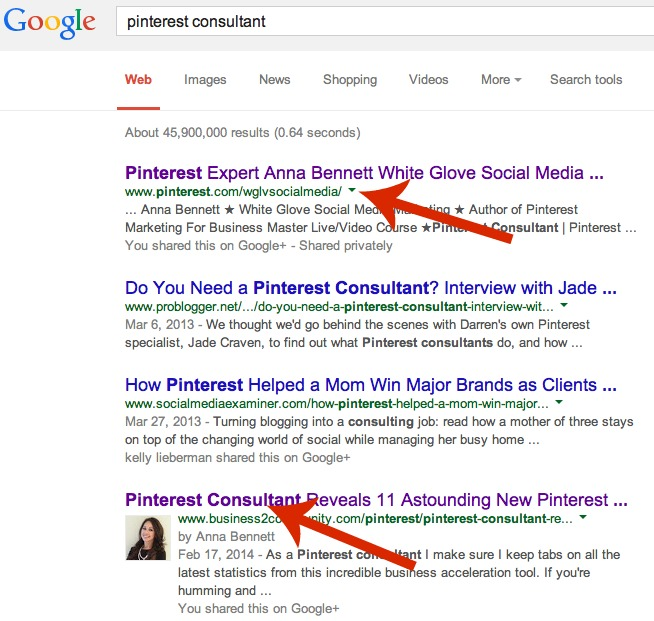 Pinterest consultant ranks number on Google search engine.jpg