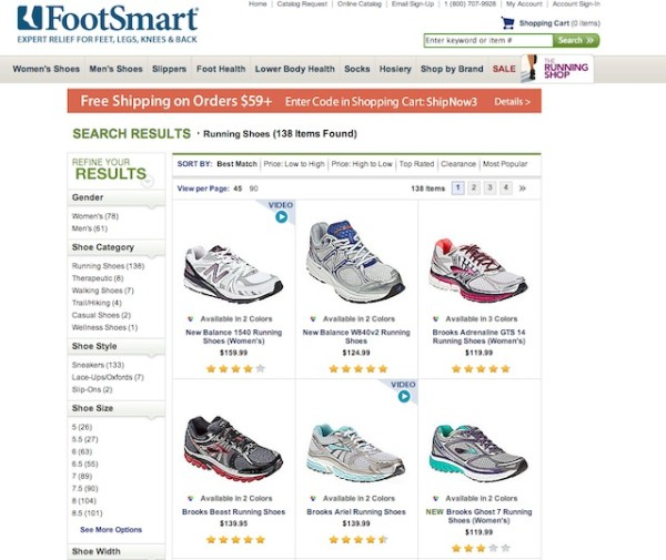 Convert More Visitors By Improving Your Internal Site Search image Comfort Shoes Foot Care Lower Body Health at FootSmart1 1 600x505