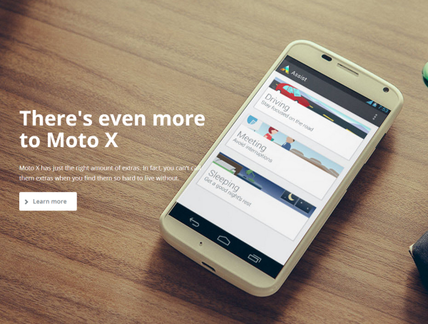 How to Drive Sales With Effective Product Photography image Moto X landing page 600x454