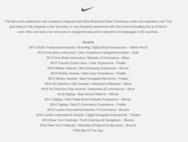 What Nike.com (and Others) Can Teach You About Building Persuasive Product Pages image Nike Awards e1408125326610 600x453