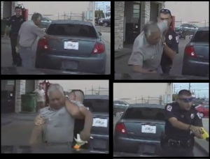 Images of an officer arresting, tazing 76 year old man from dashcam.