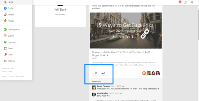 Google+ Communities Blog Promotion Engagement