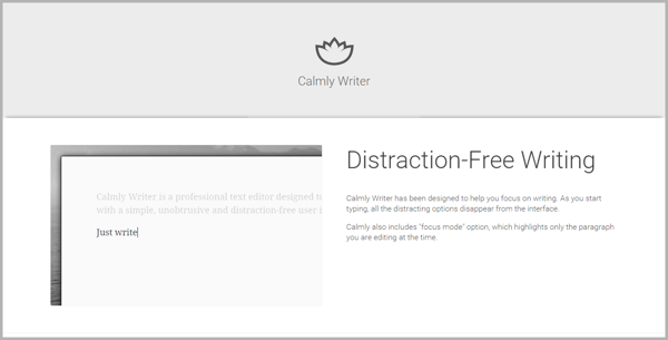 Calmly Writer - example of writing tools for content marketing