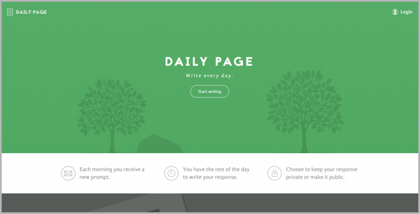 Daily Page - example of writing tools for content marketing