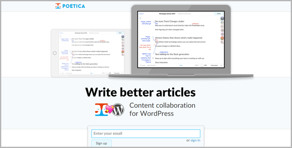 Poetica - example of writing tools for content marketing