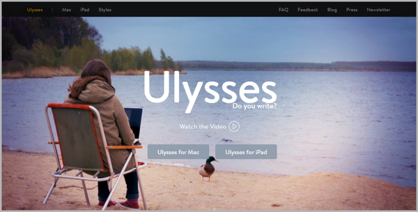 Ulysses - example of writing tools for content marketing