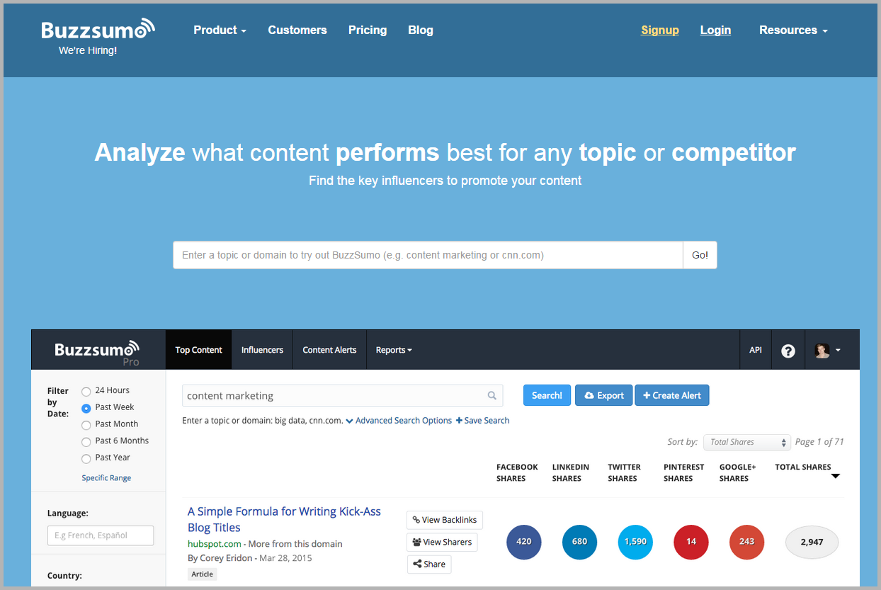 buzzsumo screencap- social media marketing campaign