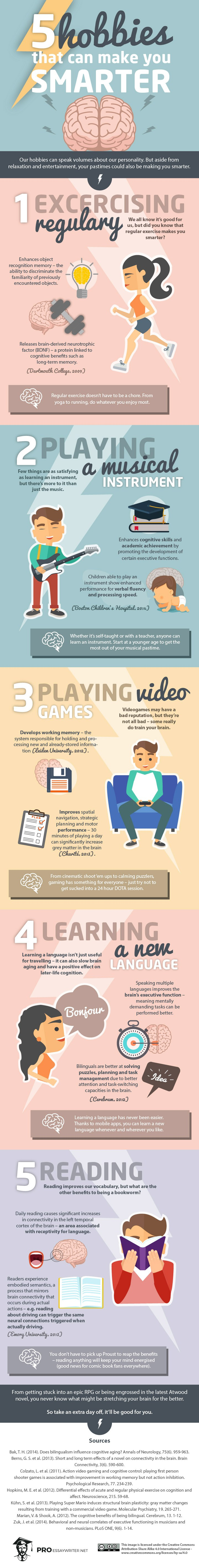 5 hobbies that will make you smarter infographic