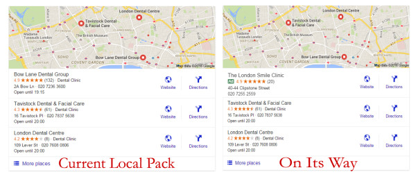 New Google Local Pack to Contain Ad