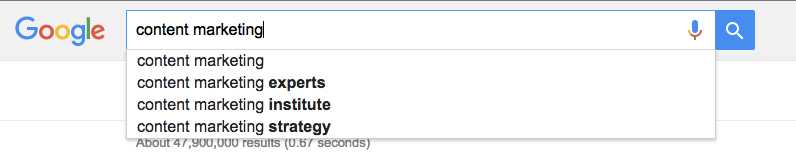 Use Google autocomplete to come up with content ideas
