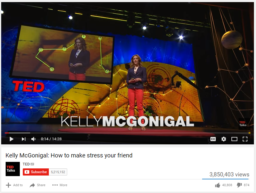 This is a screen shot of the video TED Talk by Kelly McGonigal on How to Make Stress Your Friend